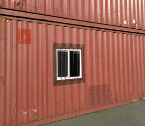 sea container roll up door at rear