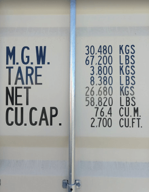 40ft sea container dimensions